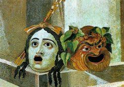 Античные маски трагедии и комедии (мозаика II века, Капитолийский музей, Рим)