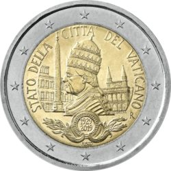 2 евро, Ватикан (90-летие основания города-государства Ватикан)