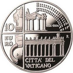 10 евро, Ватикан (350 лет колоннаде на площади Св.Петра)