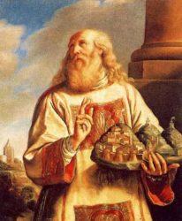 Св. Марин с тремя башнями Сан-Марино в руках (Бартоломео Дженнари, 120x100 см, XVII в., Зал заседаний Палаццо Публико)
