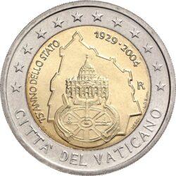 2 евро, Ватикан (75-летие образования Государства Ватикан)