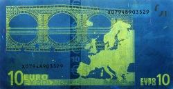 10 евро, обратная сторона в ультрафиолетом свете