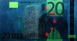 20 евро, лицевая сторона в ультрафиолетом свете