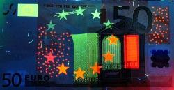 50 евро, лицевая сторона в ультрафиолетом свете