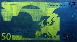 50 евро, обратная сторона в ультрафиолетом свете