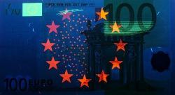 100 евро, лицевая сторона в ультрафиолетом свете