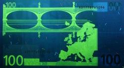 100 евро, обратная сторона в ультрафиолетом свете