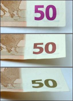 Изменяющий цвет номинал банкнот