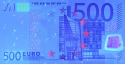 500 евро, лицевая сторона в ультрафиолетом свете
