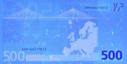 500 евро, обратная сторона в ультрафиолетом свете