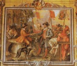 Фреска в Гербовом зале Земельного музея Клагенфурта, изображающая церемонию коронации Князей Карантании (1740 г.)