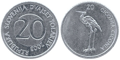 На аверсе изображён аист, практически без изменений перенесенный со словенской монеты номиналом в 20 толаров