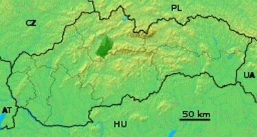 Национальный парк Велька Фатра на карте Словакии