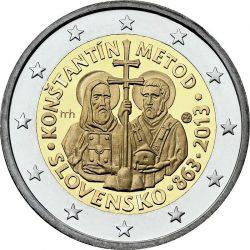 2 евро, Словакия (1150 лет с прибытия миссии Кирилла и Мефодия в Великую Моравию)