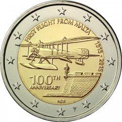 2 евро, Мальта (100-летие первого авиаполёта с Мальты), аверс