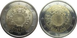2 евро, Люксембург (10 лет наличному обращению евро)