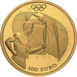 100 евро, Греция (Олимпийский огонь на стадионе)
