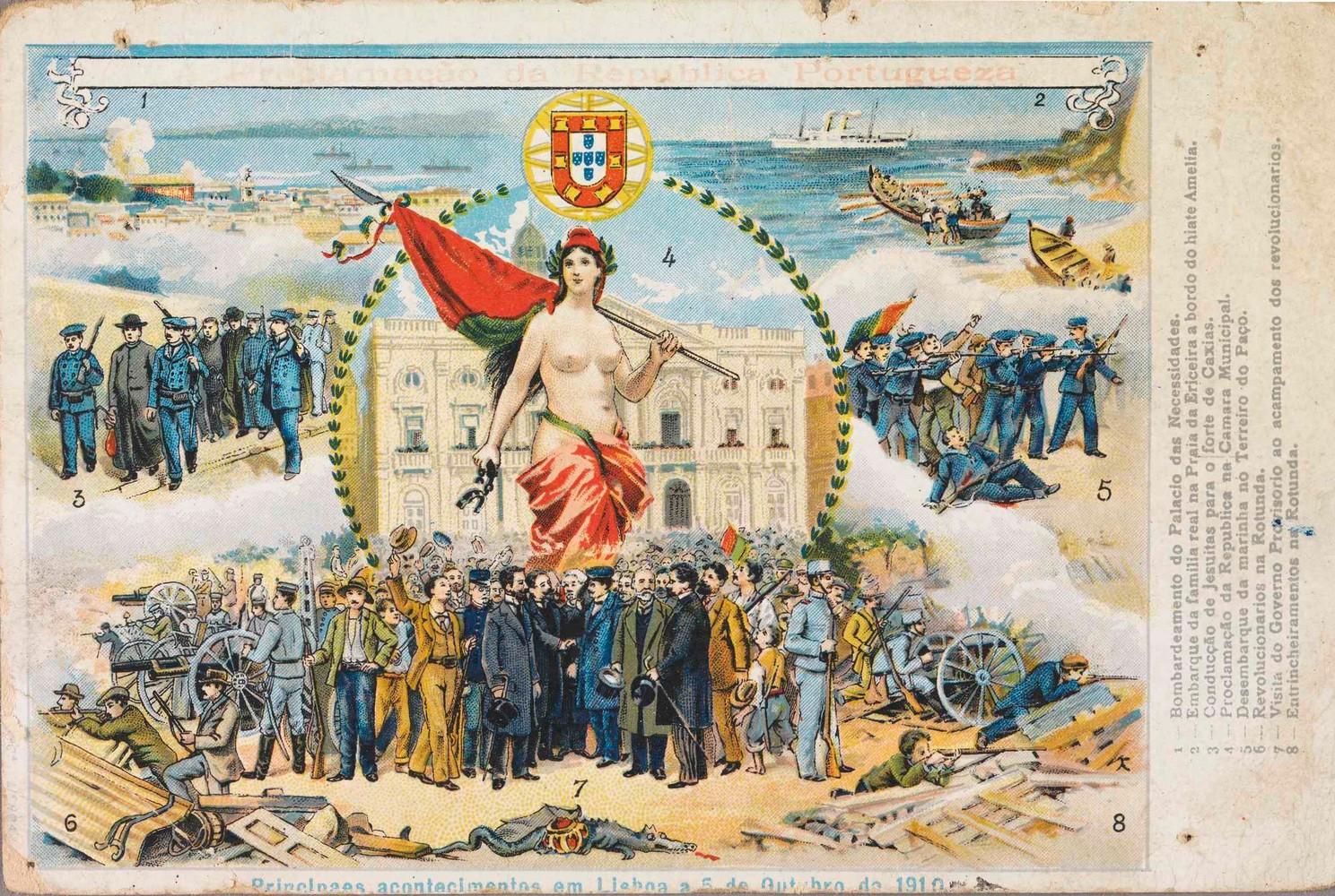 Почтовая открытка, иллюстрирующая революционные события 3 октября 1910 г. в Лиссабоне (9×13,8 см, 1910 г.).