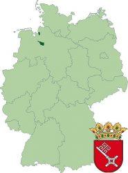 Федеральная земля Бремен на карте Германии. А так же её герб.