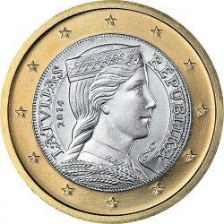 1 евро Латвии, аверс
