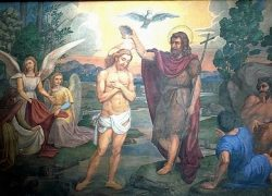 Иоанн Креститель крестит Иисуса в водах Иордании (Базилика Santa Maria degli Angelus, Ассизи, Италия)