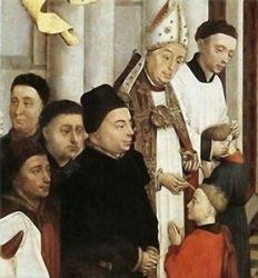 «Конфирмация» (Рогир ван дер Вейден, фрагмент картины «Семь таинств», ок.1460).