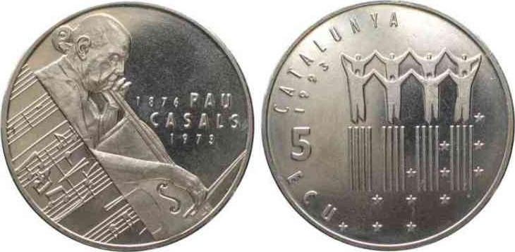 Каталонские медно-никелевые 5 ЭКЮ 1993 года - Пабло Казальс-и-Дефильо