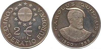 2 ЭКЮ Confoederatio Europaea 1972 года - Карл V