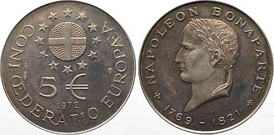 5 ЭКЮ Confoederatio Europaea 1972 года - Наполеон