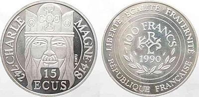 Французские серебряные 15 ЭКЮ 1990 года - Карл Великий
