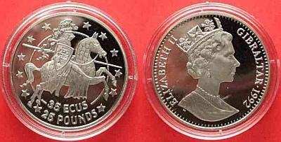 35 ЭКЮ (25 фунтов) Гибралтара 1992 года