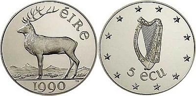 Ирландские серебряные 5 ЭКЮ 1990 года