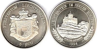 5 ЭКЮ Лихтенштейна 1993 года - Замок Гутенберг