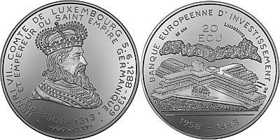 Серебряные 20 ЭКЮ Люксембурга 1993 года - Henry-VII
