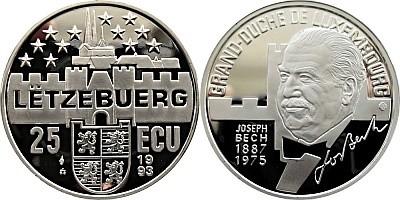 Серебряные 25 ЭКЮ Люксембурга 1993 года