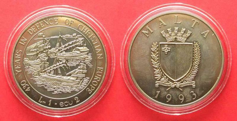 Медно-никелевые 2 ЭКЮ Мальты 1993 года - 430 лет Битвы при Лепанто