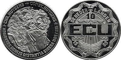 10 ЭКЮ Нидерландов 1989 года - Константин и Христиан Гюйгенсы