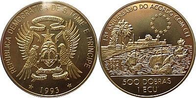 Золотые 50 ЭКЮ (25000 добр) Сан-Томе и Принсипи 1993 года