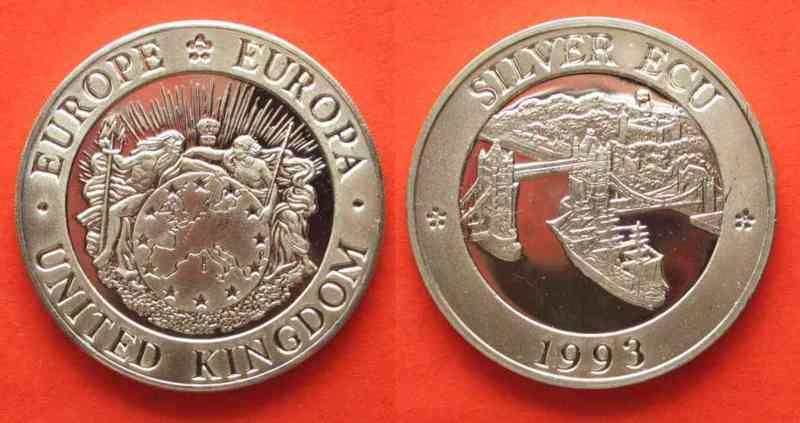 «Серебряные ЭКЮ» (без обозначения номинала) Великобритании 1993 года