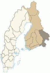 Провинция Карелия на карте Финляндии в составе Шведского королевства после 1617 года