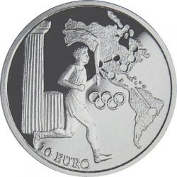 10 евро, Греция (Движение Олимпийского огня, Америка)