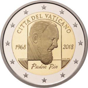 2 евро, Ватикан (50 лет со дня смерти падре Пио)