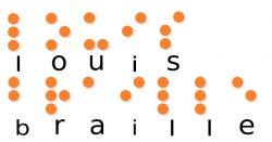 Имя «Луи Брайль», написанное шрифтом для слепых