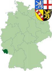 Саар на карте Германии и его герб