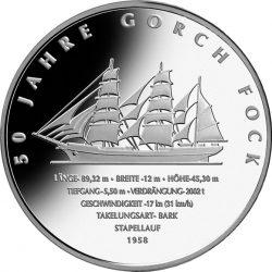 10 евро, Германия (50 лет парусному учебному кораблю «Gorch Fock II»)