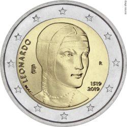 2 евро, Италия (500 лет со дня смерти Леонардо да Винчи)