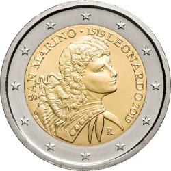 2 евро, Сан-Марино (500 лет со дня смерти Леонардо да Винчи)