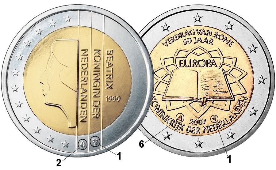 Примеры размещения знаков на монетах Нидерландов